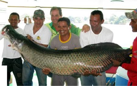 Rio Solimoes backwaters hold enormous arapaima.
