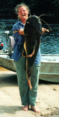 Elaine Riedel With an Enormous Red-Tailed Catfish